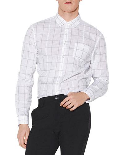 Men's Slim-Fit Check Button-Up Shirt