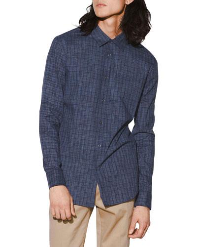 Men's Slim-Fit Check Roll-Sleeve Shirt