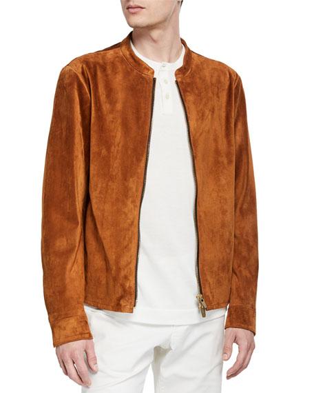 Ajmone Men's Cafe Racer Suede Zip-Front Jacket