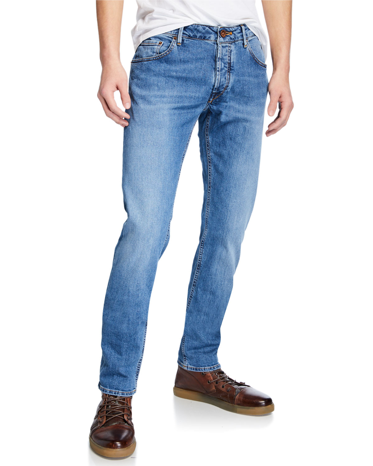 Hand Picked Men's Yagi Light-Wash Stretch Denim Jeans