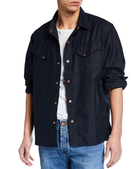Hand Picked Men's Linen-Blend Denim Overshirt