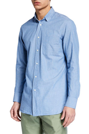 Hand Picked Men's Soft Cotton Sport Shirt, Blue