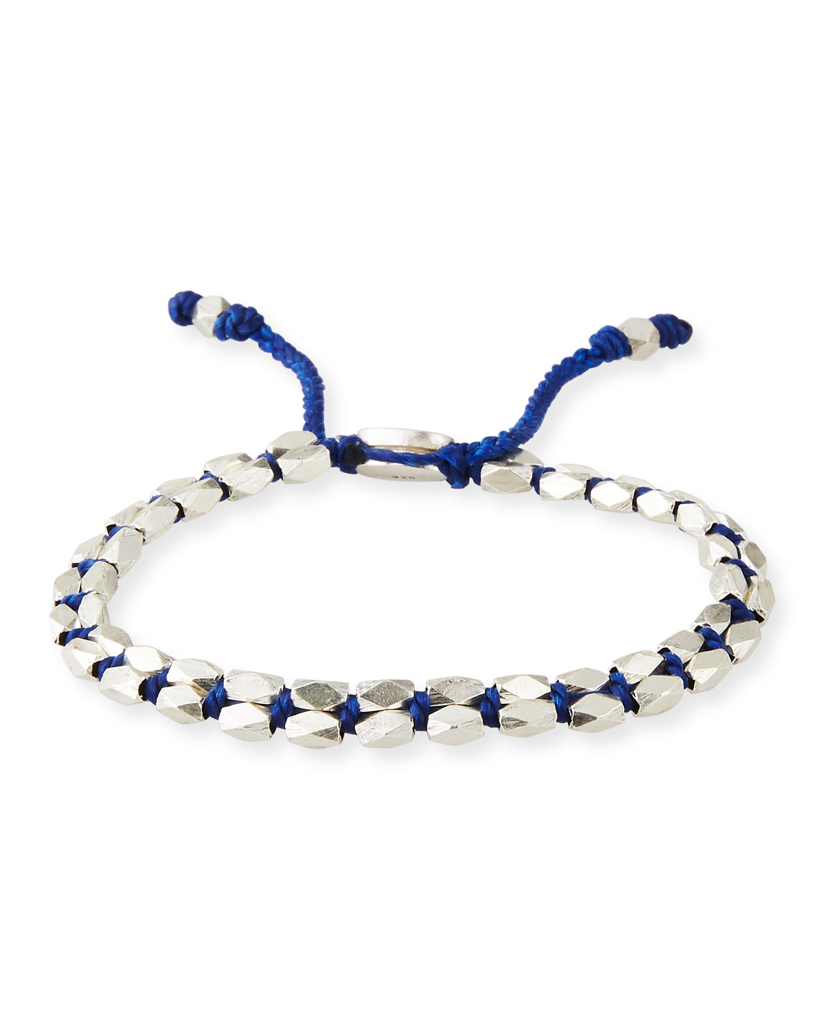 M. Cohen Men's Sterling Silver Bead Bracelet, Blue