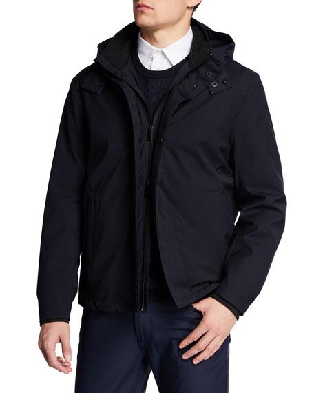 Men's Nylon Bomber Jacket with Hood