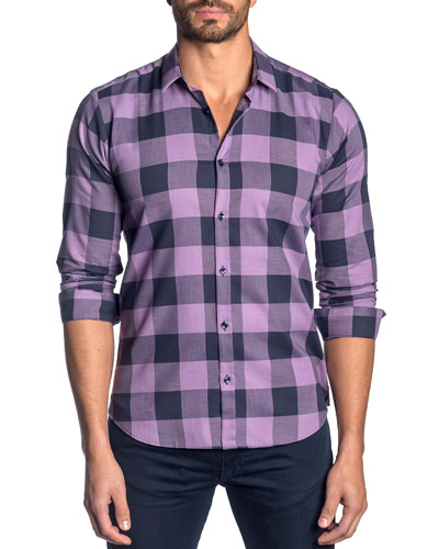 Men's Check Cotton Sport Shirt  Purple/Navy