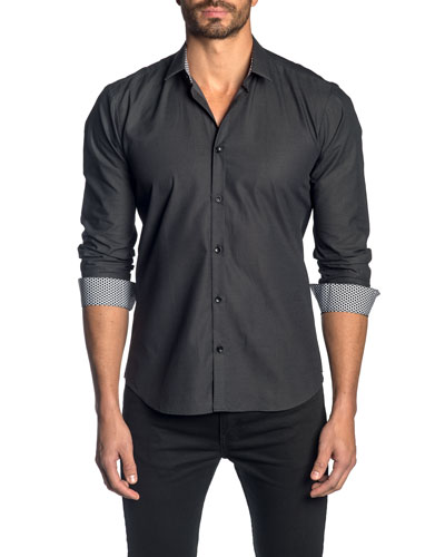 Men's Solid Sport Shirt w/ Contrast Facing