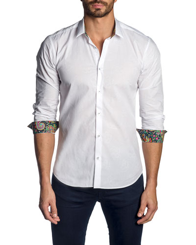 Men's Solid Poplin Sport Shirt w/ Contrast Facing
