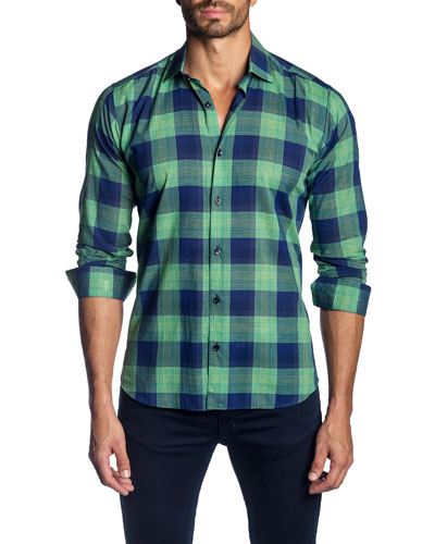 Men's Check Pattern Sport Shirt