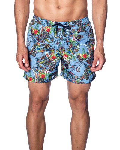 Men's Paisley-Print Swim Trunks