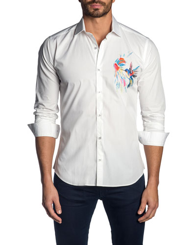 Men's Hummingbird-Graphic Sport Shirt