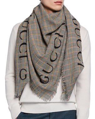 ca9800e8ef8b Gucci Men s Prince of Wales Wool Scarf