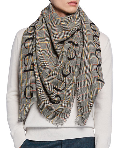 Gucci Men's Prince of Wales Wool Scarf