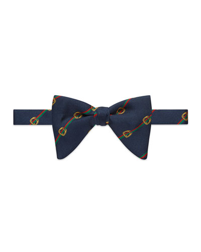 Buckle-Motif Silk Bow Tie