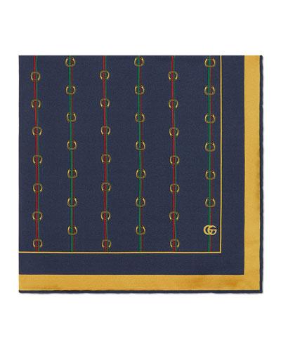 Men's Horsebit Silk Pocket Square