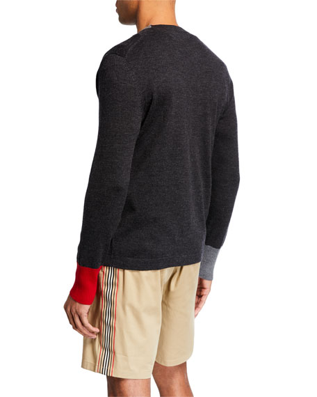 Burberry Men's Logo-Embroidered V-Neck Sweater