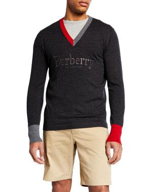 b4eab8fd29 Burberry Men s Logo-Embroidered V-Neck Sweater