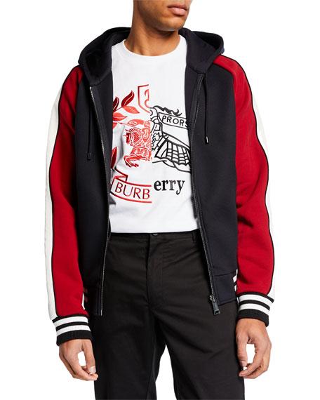 Burberry Men's Mixed Material Zip-Front Varsity Hoodie
