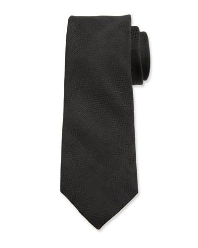 Modern Cut Tonal Check Silk Tie