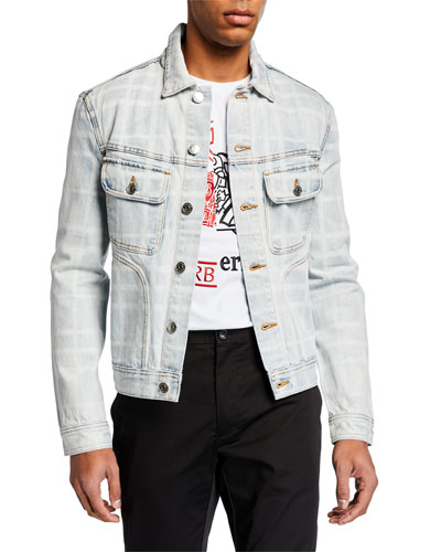 Men's Bleached Plaid Denim Jacket