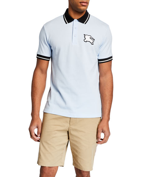 Burberry Men's Boedon Logo-Applique Varsity Polo Shirt