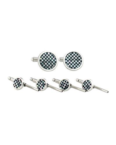 Onyx and Mother-of-Pearl Cufflinks & Studs Set