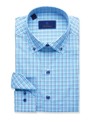 Men's Tonal Grid Sport Shirt  Laguna Blue