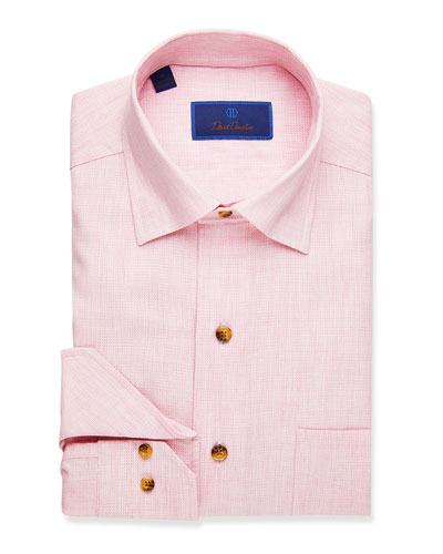 Men's Textured Pattern Sport Shirt  Pink