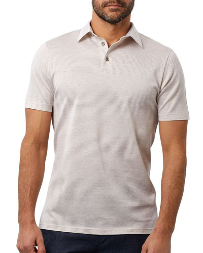 Men's Houndstooth Pattern Polo Shirt  Dune