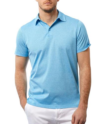 Men's Fine Lines Polo Shirt  Laguna Blue