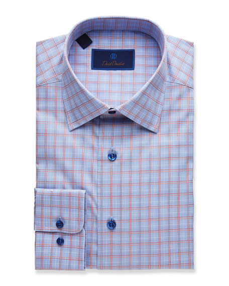 David Donahue  MEN'S PLAID REGULAR-FIT DRESS SHIRT, BLUE/MELON