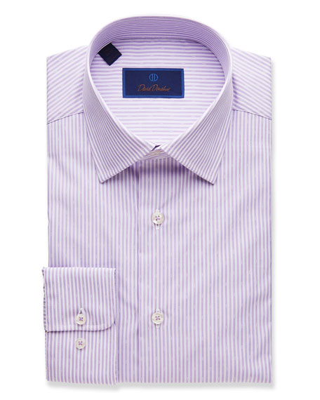 David Donahue  MEN'S STRIPED REGULAR-FIT DRESS SHIRT, LILAC