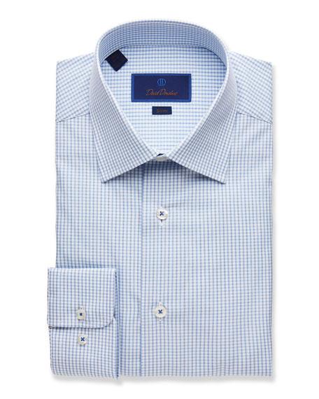 David Donahue  MEN'S GRID-PATTERN SLIM-FIT DRESS SHIRT
