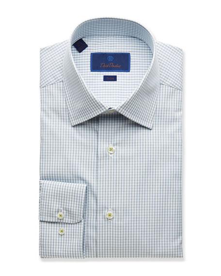 David Donahue  MEN'S TRIM-FIT GRID DRESS SHIRT