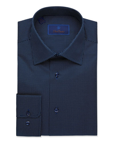 Men's Regular-Fit Dot-Textured Dress Shirt