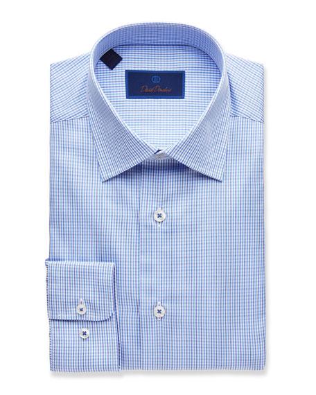 David Donahue Dresses MEN'S REGULAR-FIT TWO-TONE CHECK DRESS SHIRT