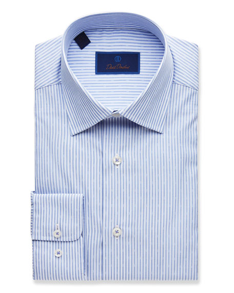 David Donahue  MEN'S REGULAR-FIT STRIPED DRESS SHIRT, BLUE
