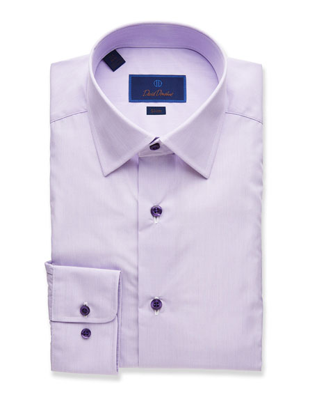 David Donahue Dresses MEN'S SLIM-FIT STRIPED DRESS SHIRT