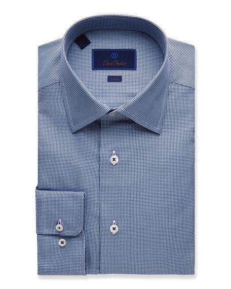 David Donahue  MEN'S TRIM-FIT TEXTURED DRESS SHIRT, NAVY