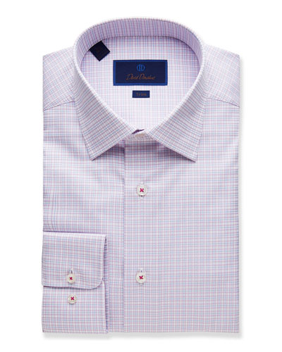 Men's Trim-Fit Plaid Dress Shirt  Berry