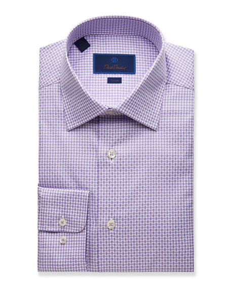 David Donahue  MEN'S TRIM-FIT BASKETWEAVE DRESS SHIRT, LILAC
