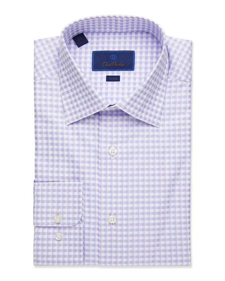 David Donahue  MEN'S TRIM-FIT CHECK DRESS SHIRT, LILAC