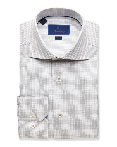 Men's Trim-Fit Textured Dress Shirt  Gray