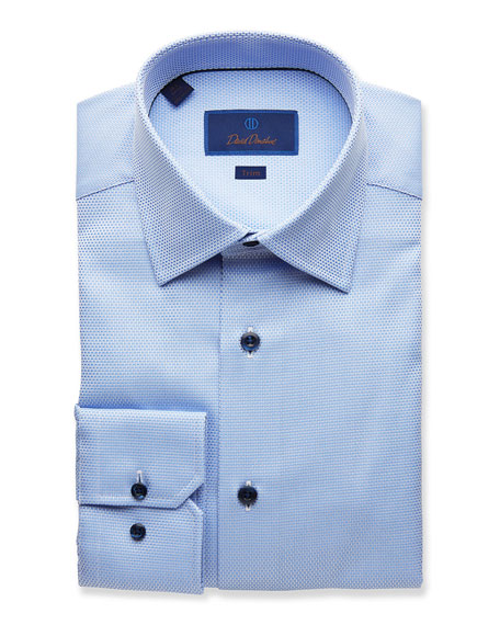 David Donahue Dresses MEN'S TRIM-FIT TEXTURED DRESS SHIRT, BLUE