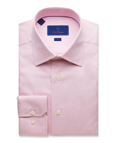 David Donahue Dresses MEN'S TRIM-FIT TEXTURED DRESS SHIRT, PINK