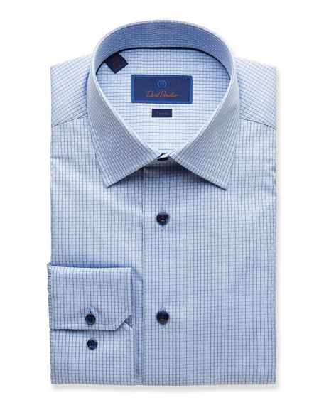 David Donahue Dresses MEN'S TRIM-FIT GRID-PATTERN DRESS SHIRT, BLUE
