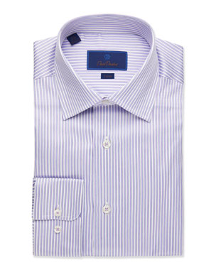 346fa9b0b86 David Donahue Men s Trim-Fit Striped Dress Shirt
