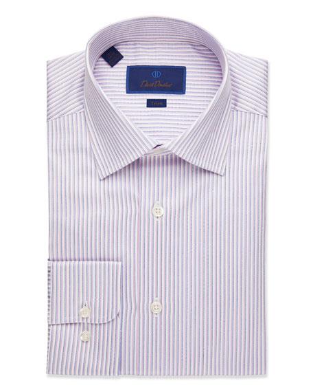 David Donahue  MEN'S TRIM-FIT STRIPED DRESS SHIRT, PINK
