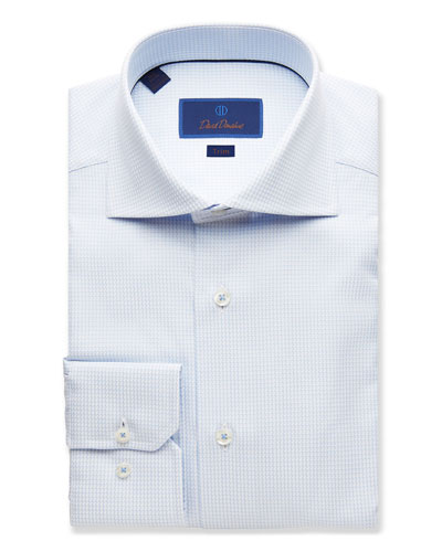 Men's Trim-Fit Grid-Print Dress Shirt