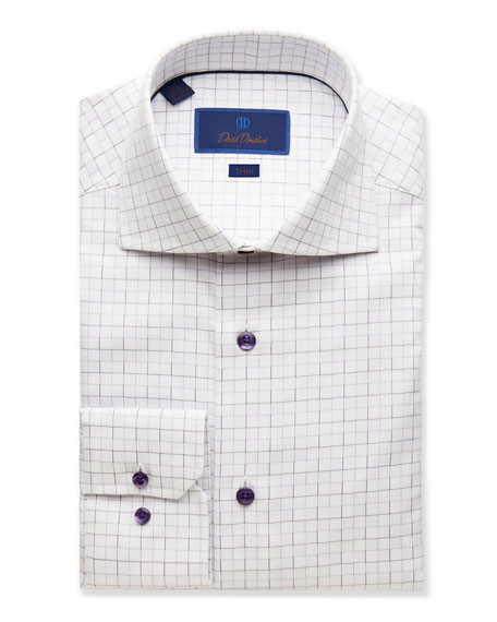 David Donahue Dresses MEN'S TRIM-FIT GRID DRESS SHIRT, LILAC
