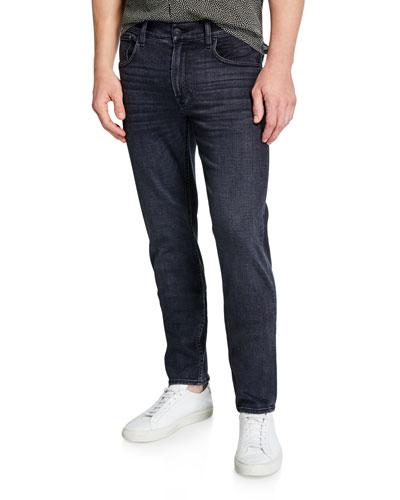 Men's Black Slim-Straight Jeans